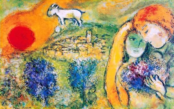 """Art credit, Marc Chagall, """"Amoureaux de Vence"""""""