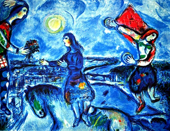 "Art credit, Marc Chagall, ""Lovers Over Paris"""