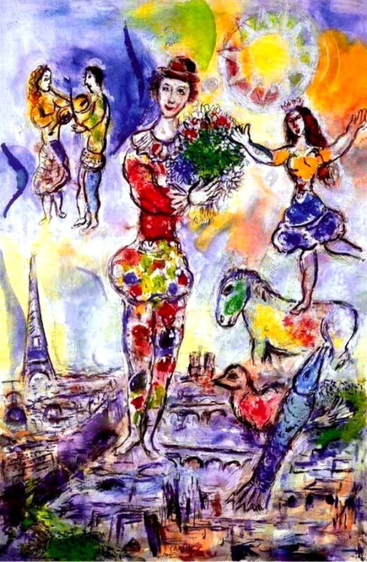 "Art credit with much appreciation to Marc Chagall, ""On the Roof of Paris"""