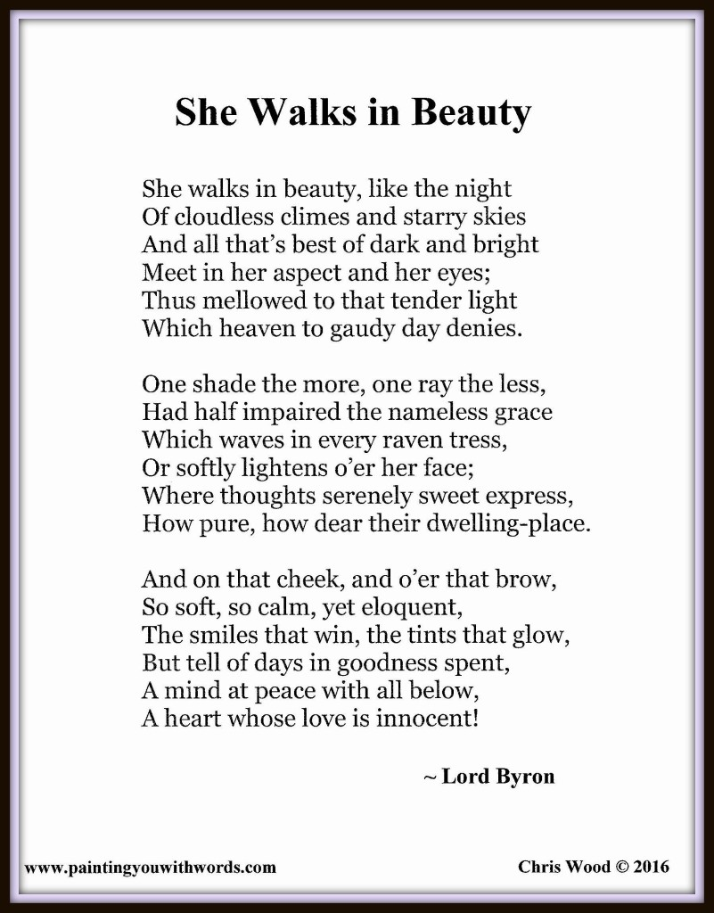 essays about she walks in beauty